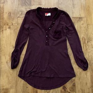 Anthropologie Burgundy Knit Top Shirt Blouse XS
